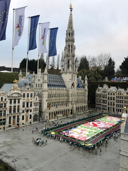 Mini-Europe's Grand Place model with the flower carpets