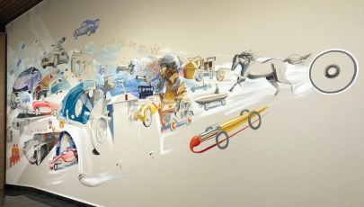 Cool wall artwork in the Autoworld Museum