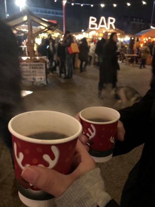 Enjoying mulled wine!