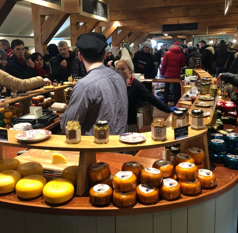 Cheese tasting bar! Lovely dutch costumes!