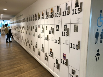 Lockers with celebrities photos in black and white
