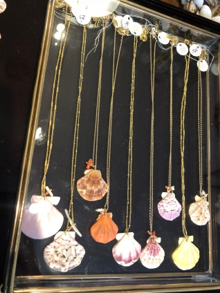 Shell necklaces and other jewerly made of shells also for sale in the store.