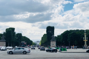 Avenue des Champs-Élysées, ending with L'arc du Triompe. The Avenue is almost 2 km long, full of bars, restaurants, cafes, hotels, teathers, monuments and the beautiful gardens.