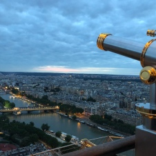 View of Paris from the second level of the Eiffel tower.