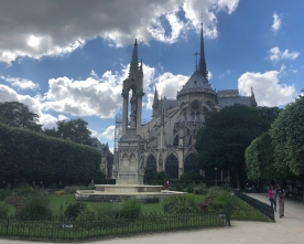 View from the back gardens of the Notre-Dame Cathedral.