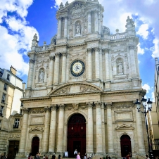 The Saint-Paul-Saint-Louis is a church in the Marais quarter of Paris. Originally constructed in the years 634-642, then destroyed and rebuilt, then destroyed and restored. The clock in the facade has been preserved.