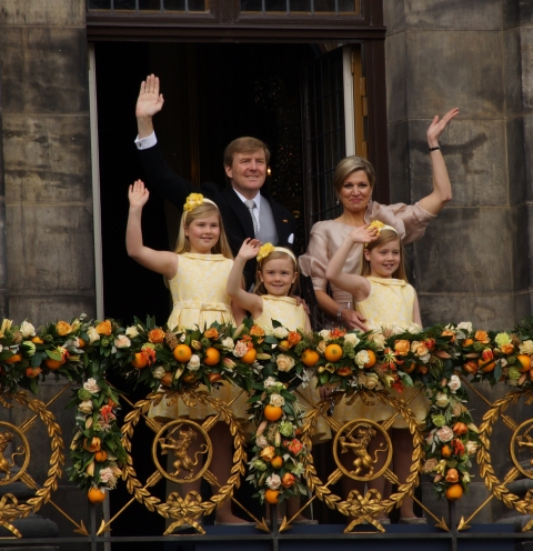 King Willem-Alexander and Queen Máxima with their daughters Princess Catharina-Amalia (left), Princess Alexia (right) and Princess Ariane (center)